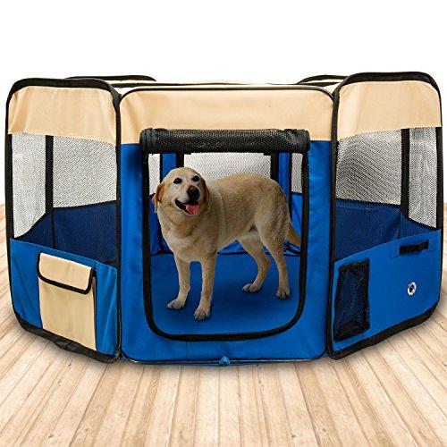 BIGWING STYLE Welpenlaufstall/ Tierlaufstall/ Welpenauslauf/ Laufstall für Hunde Faltbar abnehmbaren 8 Plattens für Kleintiere wie Hunde, Katzen,Hase - XL