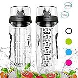 Balhvit Trinkflasche, [BPA Frei Tritan] Auslaufsicher Trinkflaschen Sport, Kunststoff Wasserflasche mit Fruchteinsatz & 1-Click-öffnet Flip Top, Wasser Flasche Ca. 1L, Sportflasche