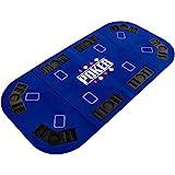 Maxstore Faltbare XXL Pokerauflage für bis zu 8 Spieler, Maße 160x80 cm, MDF Platte, 8 Getränkehalter, 8 Chiptrays