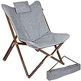 Bo-Camp Urban Outdoor BO-CAMP Klappsessel Bloomsbury Campingstuhl Klappstuhl Gartenstuhl Lounge Stuhl Mit Holzrahmen Faltbar 80 x 78 x 96 cm