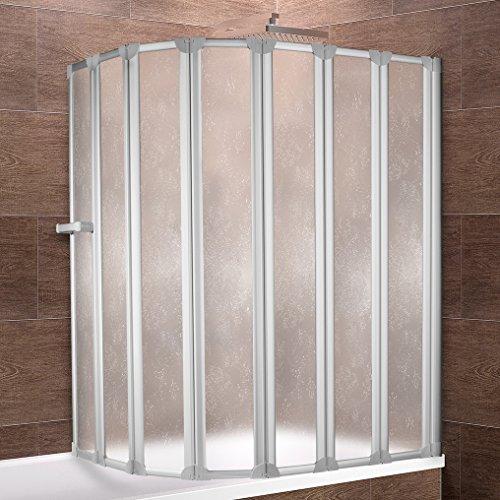 Schulte Duschwand Bien inkl. Handtuchhalter, 159x140 cm, 7-teilig faltbar, Kunstglas Tropfen-Dekor, Profilfarbe alu-natur, Duschabtrennung für Badewanne und Eckwanne