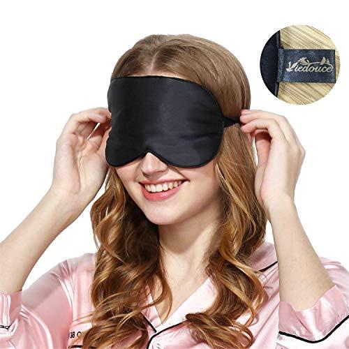 Viedouce Schlafmaske Seide Augenmaske,100% Hautfreundlich Seide Schlafmaske Frauen und Herren, Angenehme Schlafmaske mit Reisetasche Tasche,Ideal für Schlaf zu Hause und Auf Reisen (1 Pack- Rosa)