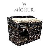 Michur Jerry, Katzenhöhle, Hundehöhle, Katzenkorb, Hundekorb, WEIDE, Rattan, Natur, ca. 57x35x43cm (Liegefläche ca. 55x33cm)