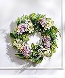 GKA wunderschöner XL Türkranz Wandkranz Hortensien weiß - violett 28 cm mit Ratan Türhänger Kunstblumen Frühling