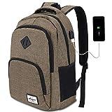 AUGUR Laptop Rucksack 12-16 Zoll (9 Farben),Business Rucksack Schulrucksack Daypack Reiserucksack mit USB-Ladeanschluss, Wasserdichte Rucksack Unisex für Arbeit Schule (B6-Kaffee)