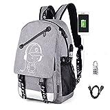 Aokay USB Schulrucksack Schulranzen Schultasche Sports Rucksack Freizeitrucksack Daypacks Backpack mit dem Schloss für Mädchen Jungen & Kinder Damen Herren Jugendliche (Grau)