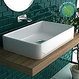 Alpenberger Design Aufsatzwaschbecken Eckig | Bad Handwaschbecken für Gäste-WC | Waschtisch Weiß Keramik ohne Überlauf | Waschschale mit Nano-Beschichtung