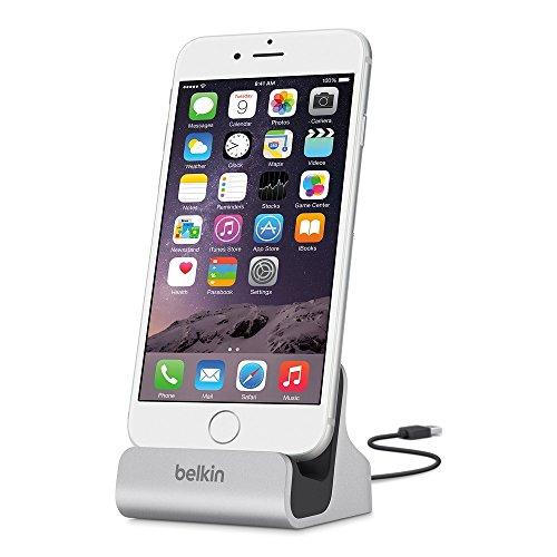 Belkin Lightning Lade/Sync-Dockingstation (mFI-zertifiziert, incl 1,2m USB-Kabel, geeignet für iPhone 8, iPhone 7, iPhone 6/6s, iPhone 5/5s/5c, iPhone SE) silber