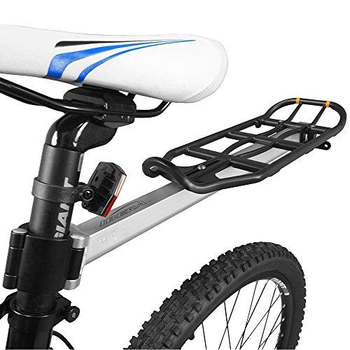 Ibera Länge-einstellbarer Fahrrad Gepäckträger, Sattelstütze Heckablage, aus einer Aluminiumlegierung, mit Reflektor und Schnellspanner, Schnelle Demontierung für Mountainbike, Rennrad, Schwarz