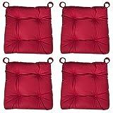 sleepling 190201 Basic 20 Bequemes Stuhlkissen/Sitzkissen für Indoor und Outdoor 4er Set rot