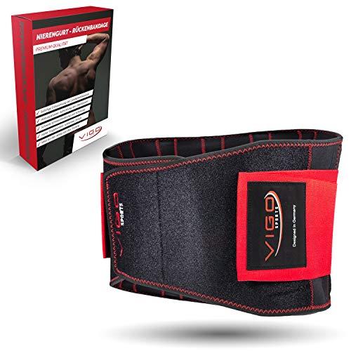 Vigo Sports Rückenbandage - atmungsaktiv & individuell verstallbar zur Linderung und Vorbeugung von Rückenbeschwerden Nierengurt für deinen Lendenwirbel - Anti Hohlkreuz Rücken - (L)
