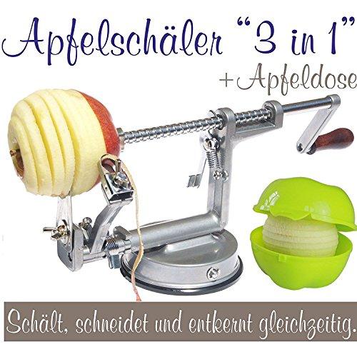 Apfelschäler Apfelschneider Apfelentkerner 3 in 1 mit Apfeldose (silbergrau)