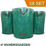 WUNDERGARDEN 3x 272L Gartenabfälle, Laub, Grünschnitt, Pflanzenabfälle, Kompost - Rundes Format, selbststehend und faltbar - Laubsäcke & Gartensäcke