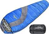 MOUNTREX Schlafsack für Camping, Wandern und Backpacking; wasserabweisender, koppelbarer Outdoor Mumienschlafsack; 220x80 cm, blau