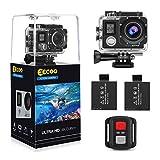EECOO Action Cam 4K Wasserdicht Aktion Kamera - 16MP Ultra Full HD WiFi Helmkamera Unterwasserkamera mit Doppelschirm, 2.4G Fernbedienung, 2 Wiederaufladbare Akkus USB-Ladegerät und Zubehör-Sets