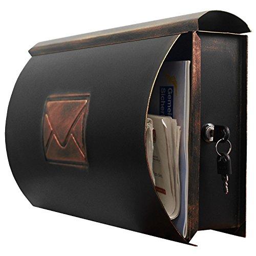 Wand Briefkasten Wandbriefkasten Postkasten Mailbox mit Zeitungsrolle Zeitungsfach Zeitungsbox / Bronze