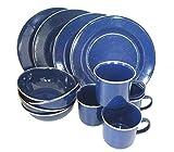 Hochwertiges 12 teiliges Emaille Kochset Western für 4 Personen Geschirr Set Camping Koch Set Emaille verschiedene Farben (Blau)