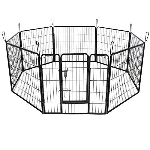 SONGMICS 8-Eck Welpenauslauf Welpenlaufstall für Hunde Kaninchen kleine Haustiere mit Tür 80 x 80 cm Farben auswählbar (Schwarz) PPK88H