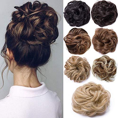 Hair Extensions Haarteil Haargummi Hochsteckfrisuren unordentlicher Ponytail Dutt Gewellt VOLUMINÖS Haarverlängerung Sandige Blondine bis Bleichmittel Blond