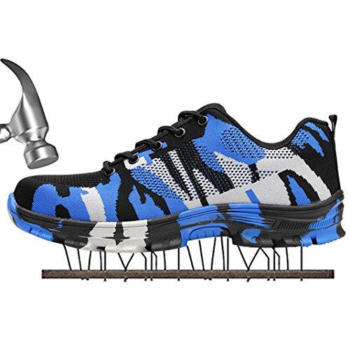 SUADEX Damen Herren Sicherheitsschuhe Sportlich Trekking Wanderhalbschuhe Stahlkappe Arbeitsschuhe Hiking Schuhe Traillaufschuhe  43 EU,  Blau