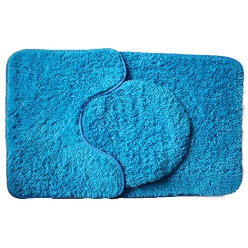 AIMADO Badematte Set 3 teilig, Polyester Rutschfeste Badvorleger Bad teppiche WC-Vorleger Toilettensitz-Bezug Waschbär Bath Mat für Badezimmer