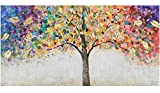 KunstLoft Acryl Gemälde 'Locus Amoenus' 120x60   original handgemalte Leinwand Bilder XXL   Baum Natur Bunt Gold   Wandbild Acrylbild Moderne Kunst einteilig mit Rahmen