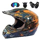 GWJ Adult Off Road Helm Dot Dirt Bike Motocross ATV Helm/Brille/Maske/Handschuhe,Orange,XL