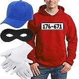 Shirtgeil Panzerknacker Banditen Kostüm Hoodie + MÜTZE + Maske + Handschuhe Kapuzenpullover Hoodie Small Rot