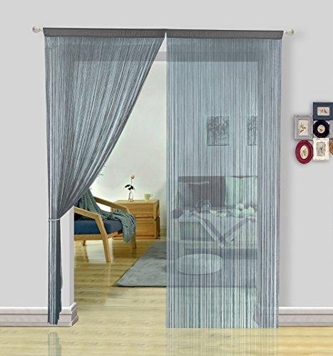 HSYLYM Fadengardine zur Inneneinrichtung als Vorhang, Türvorhang, Fliegengitter, Raumteiler, Polyester, grau, 90x200cm