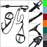 eaglefit  Sling-Trainer Allround Elastic, Fitnessgerät, Schlingentrainer inkl. Umlenkrolle, Längenverstellung 90-310 cm, für Profis & Beginner, Farbe: Schwarz