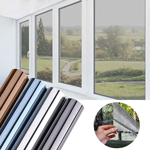 KINLO Sonnenschutzfolie Spiegelfolie Hitzeschutz Sichtschutzfolie Fensterfolie Tönungsfolie Sichtschutz Wärmeisolierung 99% UV-Schutz Silber-Weiß 90x200cm