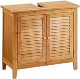 Relaxdays Waschbeckenunterschrank LAMELL aus Bambus H x B x T: ca. 60 x 67 x 30cm Unterschrank fürs Waschbecken oder den Waschtisch Waschtischunterschrank aus Holz mit 2 Türen in Lamellen-Optik, natur