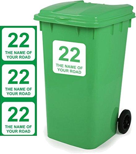 Mülltonne Aufkleber personalisierbar 3Stück Schilder Größe 18cm x 18cm D1