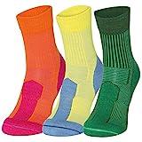 Merino Wool Light Cushion Socks (EU 39-42, Mehrfarbig (2 x Grüne, 1 x Gelb) - 3 Paare)