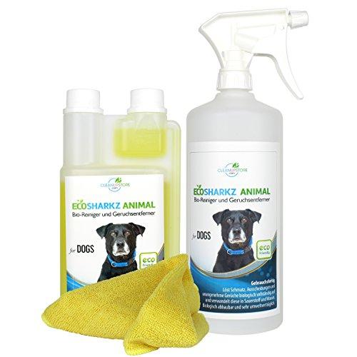 Geruchsneutralisierer für Hunde - natürlicher Entferner von Urin-Geruch und Hundeplatz-Reinigungsmittel (Set 0,5 Liter Konzentrat ergeben 25 Liter gebrauchsfertigen Urin Bio-Reiniger / Geruchskiller)