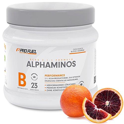 BCAA Pulver (Aminosäuren) sensationeller Geschmack | Aminos 2:1:1 (Leucin, Isoleucin, Valin) Hochdosiert, Vegan | Für Muskelaufbau, Abnehmen & Sport | PROFUEL Alphaminos 300g - BLUTORANGE