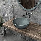 KERABAD Design Betonwaschbecken Waschtisch Aufsatzwaschbecken Waschschale aus Beton Grau rund 37x37x14cm KB-B505