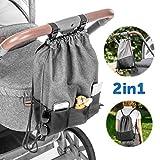 Zamboo Leichte Kinderwagentasche - Universal Beutel/Kinderwagen Organizer mit Befestigungshaken Buggy Clips | Kleine Wickeltasche/Wickelrucksack zum Umhängen - Grau Schwarz