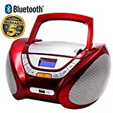 LAUSON CP449 Bluetooth CD Player für kinder mit USB | Radio Cd Player Tragbar | Radio Bluetooth | Radio mit Cd Spieler | Boombox | Headphone Socket und Aux Input von MP3 Playback (Rot)