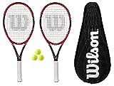 2 x Wilson Federer Pro 105 Carbon Tennisschläger + Bälle