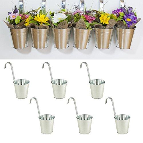 6er Set Hängetopf Silber aus Zink Ø 13 cm, Blumentopf Vase Balkon Garten
