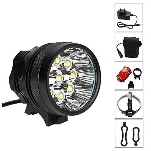 YSYSY 18000LM 9X CREE XM-L T6 wasserdicht Fahrradlicht, Scheinwerfer, Kopflampen, Stirnlampe, Fahrrad Vorderes Leuchtturm, 3 Modes mit 6 x 18650 Akku-Ladegerät