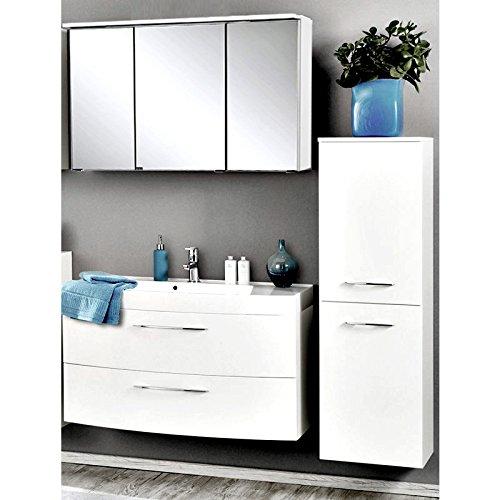Badmöbel Set Hochglanz weiß (3 teilig) Waschtisch Badezimmer Badezimmermöbel LED Spiegelschrank
