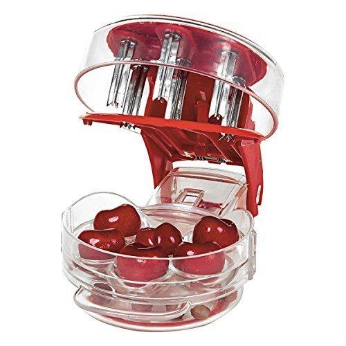 Cherry Stoner Entferner Multi Cherry Pitter Cherry Stein Samen entfernen Kern einfach mit Griff drücken 6Kirschen Pitter rot.