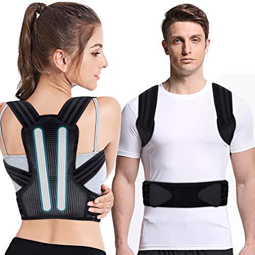 Haltungskorrektur, UBRU Rückenstabilisator für Herren Damen und Kinder mit 2 herausnehmbare Schienen für starke Unterstützung, 2 weiche Polster lindern Achsel-Schmerzen, Geradehalter Größenverstellbar