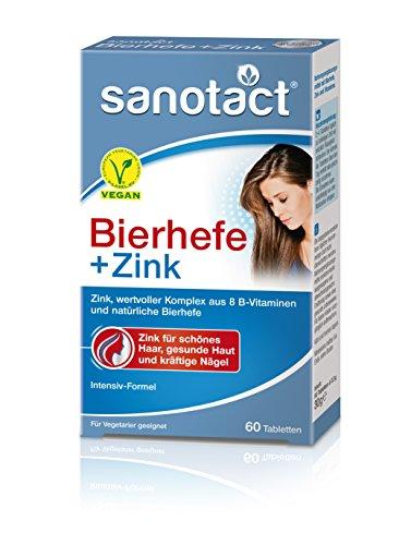 sanotact Bierhefe + Zink Tabletten Nahrungsergänzungsmittel mit Vitaminen/vegan, 60 Stück