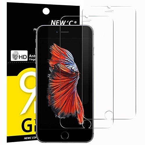 NEW'C PanzerglasFolie Schutzfolie für iPhone 6s, für iPhone 6, [2 Stück] Frei von Kratzern Fingabdrücken und Öl, 9H Härte, HD Displayschutzfolie, 0.33mm Ultra-klar, kompatibeliPhone 6s, 6