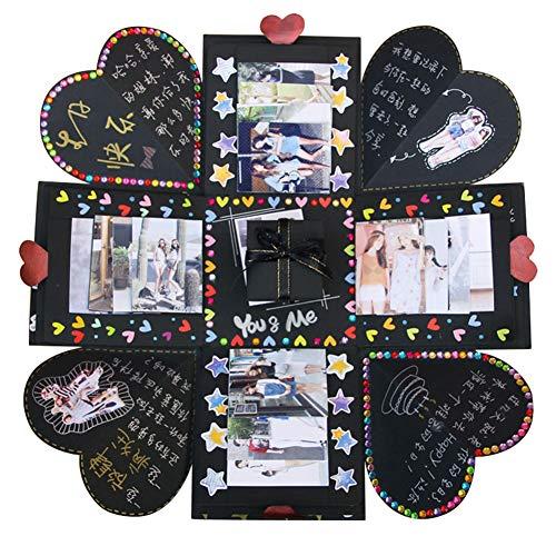 VEESUN Explosionsbox, Kreative Überraschung Box Handgemachtes mit Guide Fotoalbum zum Selbstgestalten Schwarze Seiten Scrapbook, DIY Hochzeit Jahrestag Geburtstags Weihnachten Geschenkbox, Schwarz