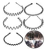 5 Stück Unisex Schwarz Welle Metall Stirnband Haarbänder Haarreifen Haarschmuck Stirnband Zubehör-Schwarz Für Männer Frauen