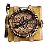 '' Robert Frost Gedicht '' bestes Weihnachtsgeschenk gravierte Messingkompass mit Emboss Nadel & Ledertasche . C-3240